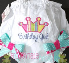 Monogrammed Birthday Girl Princess Crown Diaper Cover Tutu Bloomer with Double Ribbon Bows for Little Baby Girls - PERSONALIZED Custom. $18.95, via Etsy.