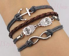 Infinity bracelet,owls bracelet ,anchor bracelet,infinity love,cute owls,braid leather,antique silver,friendship christmas gift,. $5.99, via Etsy.