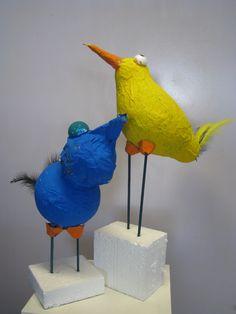 papier-maché vogels