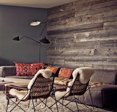 wooden wall in grey shades
