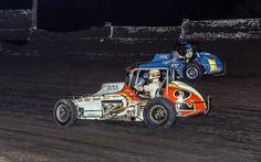 #2 Rick Goudy and # 1 Jimmy Oskie at Manzanita Speedway OCT-1978