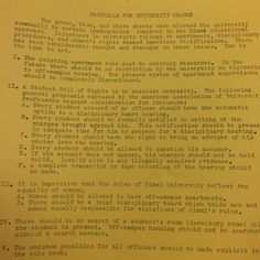 In a letter of demands from the Civil Liberties Board, the first signs of unrest regarding dormitory policies are found. After the civil rights protests of the 60s, students begin to shift their focus to student life, specifically in residence halls. (Image cropped from MU Archives) 1970 #MiamiUniversity #MUArchives #OxfordOH