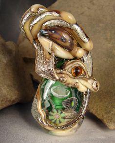 Handmade Lampwork Sea Dragon Bead  Uisge   Dragon von marylockwood