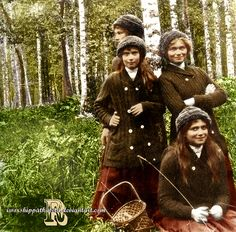 Grand Duchess Olga, Tatiana, Maria, and Anastasia of Russia vacationing in Finland. Year 1913. Originally black and white picture coloured by me.