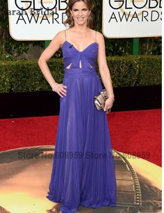 Sexy Purple Natalie Morales Red Carpet Celebrity Dress 2017 73rd Golden Globe Awards Chiffon Long Evening Gown Vestido De Festa