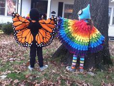 Monarch and Rainbow bird costumes