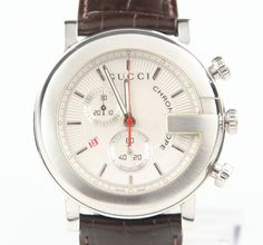 Gucci Men's Stainless Steel Chronoscope Quartz Watch w/ Date, Leather Band 101M #Gucci #Casual