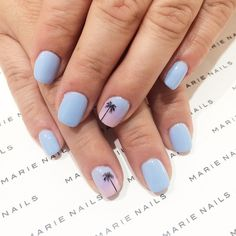 Simple palm tree nail art from MARIE NAILS LA location! Give us a call to make an appointmen
