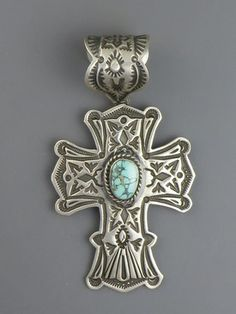 Handmade Turquoise Mountain Cross Pendant by Happy Piaso, Navajo -