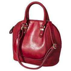 Solid Satchel Handbag - Red; it won't fit on my shoulder but I so want this bag....