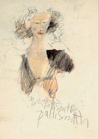 Autoportrait (Dessin, graphite, crayon et crayons de couleur sur papier).© Patti Smith, Courtesy Robert Miller Gallery.
