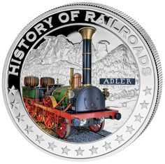 """History of Railroad """"Adler"""" Silver Coin Gold And Silver Coins, Thing 1, Coins For Sale, Coin Collecting, Locomotive, Warriors, History, Germania, Liberia"""