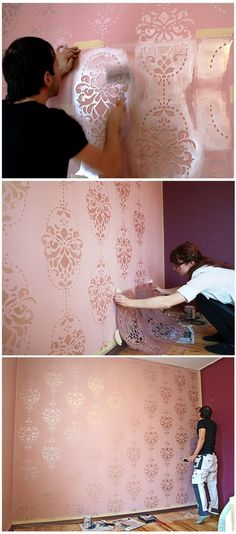 Decomagia Hobby Show: Wand mit Schablone dekorieren . - Elena Calizaya Rodriguez - - Decomagia Hobby Show: Wand mit Schablone dekorieren . My Room, Girl Room, Girls Bedroom, Bedroom Decor, Wall Patterns, Painting Patterns On Walls, Stencil Patterns, Wall Design, Interior Design