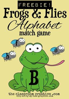 FREEBIE: Frogs & Flies #Alphabet Match Game.  Feed the uppercase frog some lowercase flies!  Perfect for preschool, kindergarten, and special needs classroom.  Can be used as a #file folder game, memory game, or literacy center.  Enjoy this freebie!
