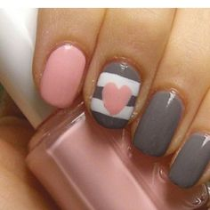 Grey & Pink Heart mani....