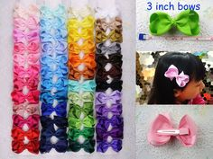 """DIY 12/16/28/48PCS girl baby toddler 3"""" boutique Hair Bow ribbon with clips 1397 #Unbranded"""