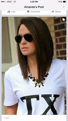Seriously considering going back to this style.A-line bob - long bob lob hairstyle Lob Hairstyle, Long Bob Hairstyles, Pretty Hairstyles, Bob Haircuts, Medium Hair Styles, Short Hair Styles, Langer Bob, Corte Y Color, Round Face Haircuts