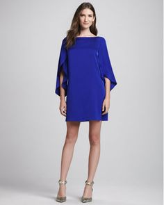 Buttefly-Sleeve Shift Dress, Cobalt by Milly at Neiman Marcus.