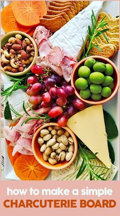 Make a simple charcuterie board with these easy steps and use ingredients found in your local market. Your guests will enjoy this appetizer. Plateau Charcuterie, Charcuterie And Cheese Board, Charcuterie Platter, Cheese Boards, Easy Summer Meals, Summer Recipes, Holiday Recipes, Summer Food, Wooden Bread Board