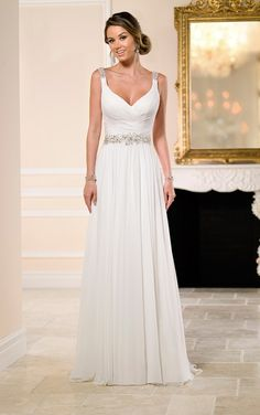Flowy Grecian Bridal Gown with Sparkly Belt Classic and ethereal, this chiffon Grecian-style wedding gown from the Stella York collection takes beachside romance to the next level. The perfect beach wedding dress. Wedding Dress Chiffon, Long Wedding Dresses, Elegant Wedding Dress, Cheap Wedding Dress, Wedding Dress Styles, Bridal Dresses, Wedding Gowns, Bridal Gown, Wedding Ceremony