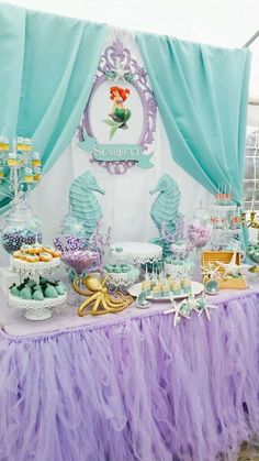 Little mermaids birthday party Candy Theme Birthday Party, Mermaid Birthday Decorations, Mermaid Birthday Cakes, Girls Birthday Party Themes, Little Mermaid Birthday, Girl 2nd Birthday, Birthday Parties, Birthday Centerpieces, Deco Ballon