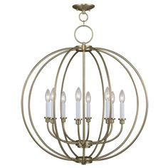 Livex Lighting Milania Antique Brass Chandelier 4668-01