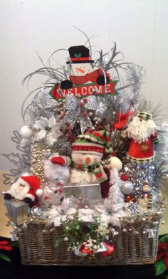 Handmade WELCOME TO CHRISTMAS Silver and Red Snowman Gift Basket Decoration by cappelloscreations, $58.00@Etsy