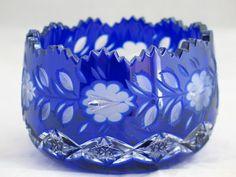 Cut Glass Bohemian Crystal Cobalt Blue Candy Sweet Meat Bowl