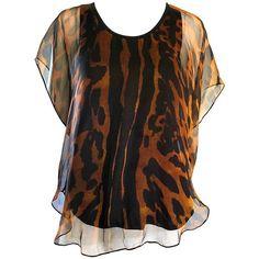Preowned Alexander Mcqueen New Leopard Cheetah Print Silk Chiffon... ($1,255) ❤ liked on Polyvore featuring tops, blouses, black, shirt blouse, cheetah shirt, vintage blouses, evening blouses and leopard print blouse