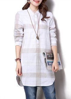 Button Closure Plaid Print White Curved Shirt on sale only US$30.64 now, buy cheap Button Closure Plaid Print White Curved Shirt at lulugal.com