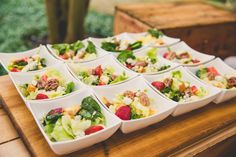 Hamby Signature Salads in Individual Vessels. Rachel & Robert on Borrowed & Blue.  Photo Credit: Richard Bell Photography