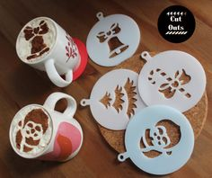 Set of four hot chocolate/ coffee stencils by CutOutsMK on Etsy Hot Chocolate Coffee, Coffee Stencils, Product Ideas, Christmas Decorations, Party Ideas, Crafts, Etsy, Manualidades, Christmas Decor