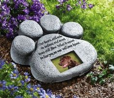 DOG CAT PET PAW MEMORIAL GRAVE MARKER HEAD STONE GARDEN PHOTO FRAME PLAQUE NEW