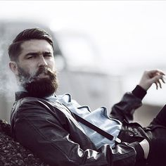 Chris John Millington - full thick dark beard and mustache beards bearded man men mens' style fashion dapper suspenders smoking handsome #beardsforever