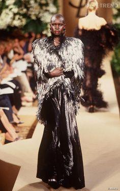 Yves Saint Laurent F/W 2000 Haute Couture cape of rooster feathers and dress, Oiseau de nuit.