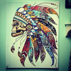 Indian skull headdress.  Aztec feathers beauty canvas acrylic art painting