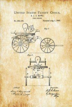 1882 Fire Engine Patent - Patent Print Wall Decor Fireman Gift Firehouse Decor Firefighter Fireman Fire Engine by PatentsAsPrints