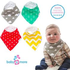 Unisex Baby Bandana Bibs Variety 4-Pack with Snaps, The Perfect Baby Shower Gift
