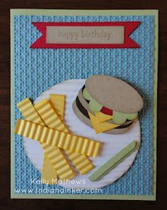 Indiana Inker - Hamburger and French Fries Card Stampin' Up! - Punch Art Put Ketchup on the fries, would make the card funny. Kids Birthday Cards, Funny Birthday Cards, Handmade Birthday Cards, Art Birthday, Birthday Humorous, Birthday Sayings, Sister Birthday, Birthday Images, Boy Cards