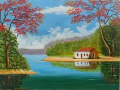pintura em tela paisagem com casa - Pesquisa Google