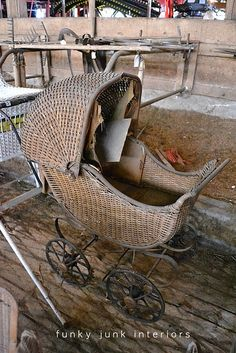 Baby buggy would make a cool planter - inside. Might fall apart outside.