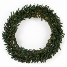 60 in. Classic Pine Pre-lit Wreath. Hang the Classic 60-Inch Pre-Lit Wreath anywhere in your home to create instant holiday cheer. Measuring 60 inches, when fluffed, this wreath simply can't go unnoticed. It's pre-lit with 200 clear lights, saving you the hassle of doing it yourself. Plus, it has 720 tips that you can use to add your own personal touch. Large wreath is sure to add holiday cheer Measures 60 inches in diam. when fluffed Pre-lit with 200 clear lights Features 720 tips No…