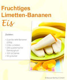 Selbstgemacht: Fruchtiges Limetten-Bananen-Eis Cantaloupe, Creme, Fruit, Food, Greek Yogurt, Key Lime, Kitchens, Recipes, Yogurt