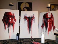 Stormtrooper, Boba Fett, and Royal Guard in red paint. By SeeMyAmbitionsFadeOut.