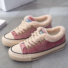 Womens Canvas Snow Sneakers Fur Lined Shoes – Tennis Shoe Outfit Winter Snow Sneakers, Sneakers Mode, Sneakers Fashion, Canvas Sneakers, Suede Shoes, Lace Up Shoes, Tennis Shoes Outfit, Loafers Outfit, Girls Shoes