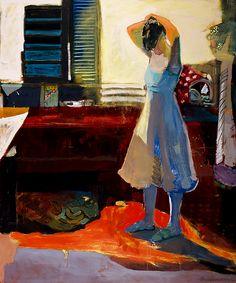 Fixing Hair in Kitchen by Linda Christensen Oil ~ 72 x 60