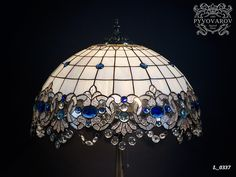 Tiffany lamp Bedside lamp Stained glass lamp shade Lampshade Table lamp Standing lamp Blue white l. Stained Glass Lamp Shades, Stained Glass Light, Custom Stained Glass, Stained Glass Designs, Stained Glass Windows, Lampe 3d, Verre Design, Modern Lamp Shades, Ceiling Lamp Shades