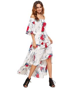 5fcd03bd5d0e Milumia Women s Boho Off The Shoulder Swing Maxi Dress at Amazon Women s  Clothing store  White
