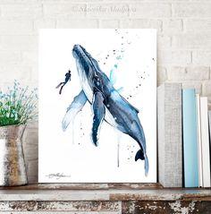 Freediver with Humpback Whale watercolor painting print by Whale Painting, Watercolor Whale, Watercolor Paintings Abstract, Painting Prints, Mermaid Paintings, Watercolor Paper, Art Prints, Sea Life Art, Sea Art
