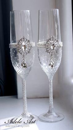 Pesronalized Champagne boda flautas conjunto de vidrios de 2